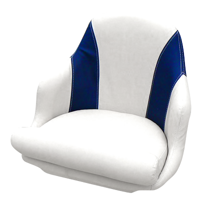 Captain's armchair upholstered in navy blue and whit