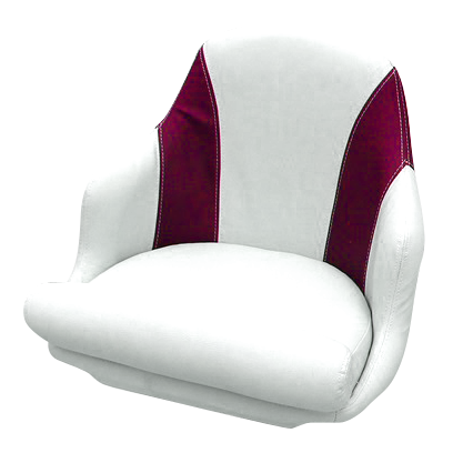 Captain's armchair upholstered in maroon and white