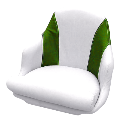 Captain's armchair upholstered in green and white