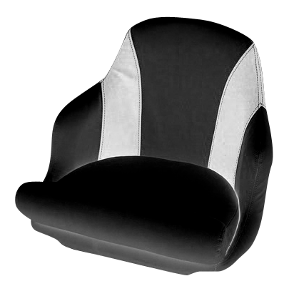 Captain's armchair upholstered in black and white