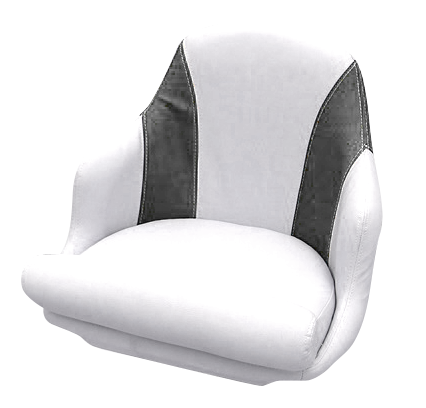 Captain's armchair upholstered in graphite and white