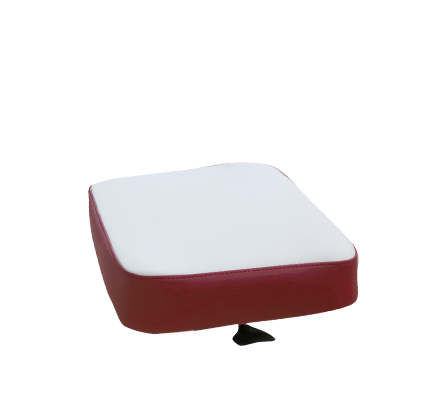 Upholstered seat in maroon and white