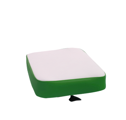Upholstered seat in green and white